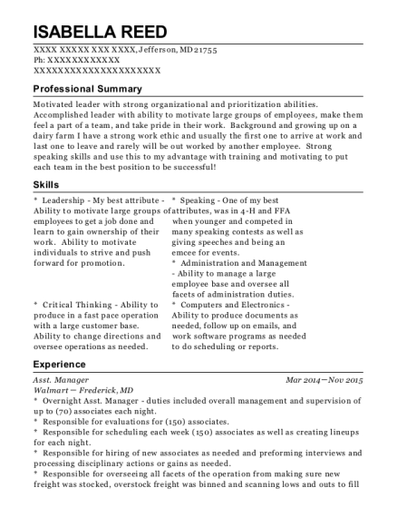 Asst Manager resume example Maryland