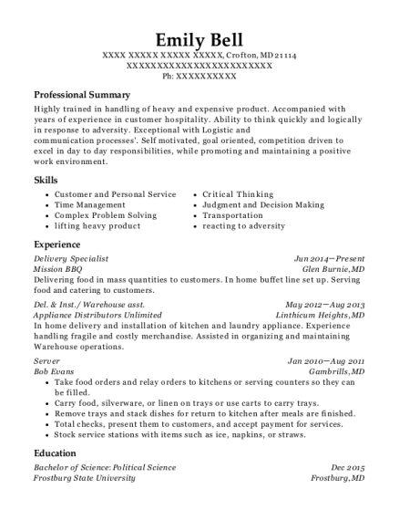 Delivery Specialist resume template Maryland
