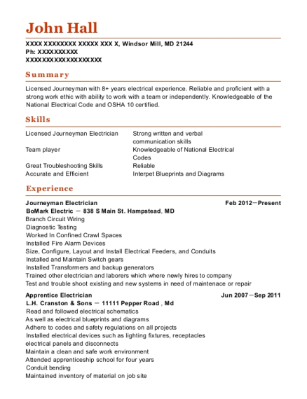 Journeyman Electrician resume example Maryland