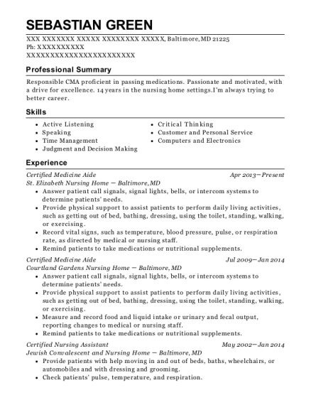Certified Medicine Aide resume format Maryland
