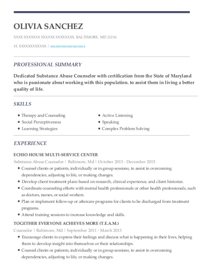 Substance Abuse Counselor resume template Maryland