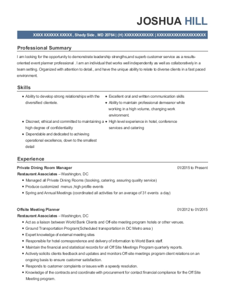 Private Dining Room Manager resume sample Maryland