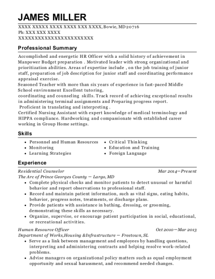 Residential Counselor resume format Maryland