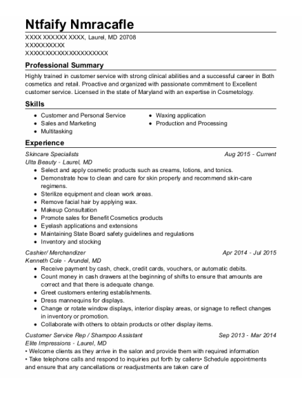 Skincare Specialists resume format Maryland