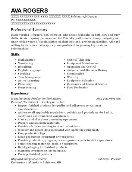 Manufacturing Production Technicians resume template Maryland