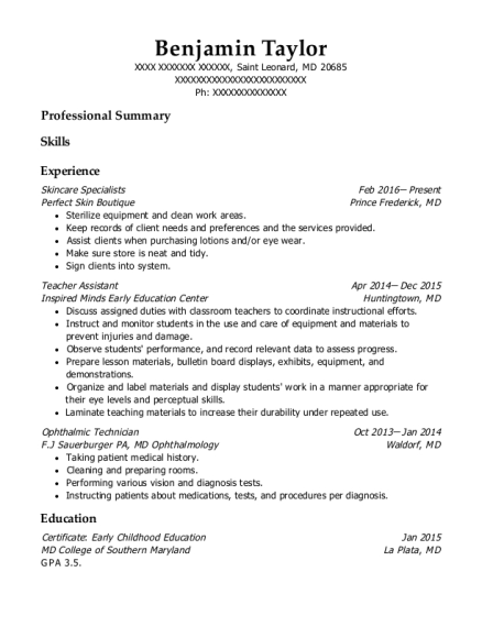 Skincare Specialists resume template Maryland