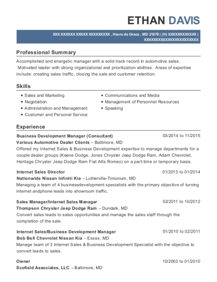 Business Development Manager resume example Maryland