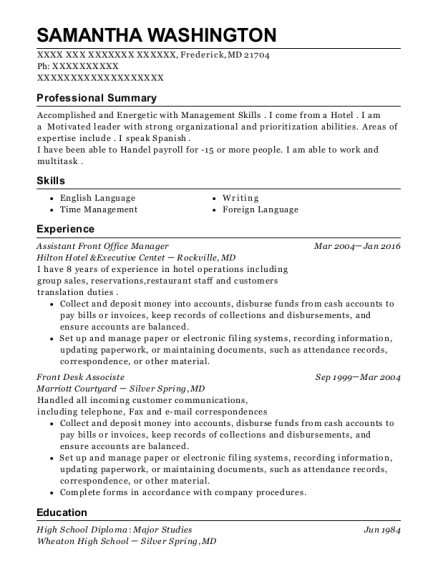 Assistant Front Office Manager resume format Maryland