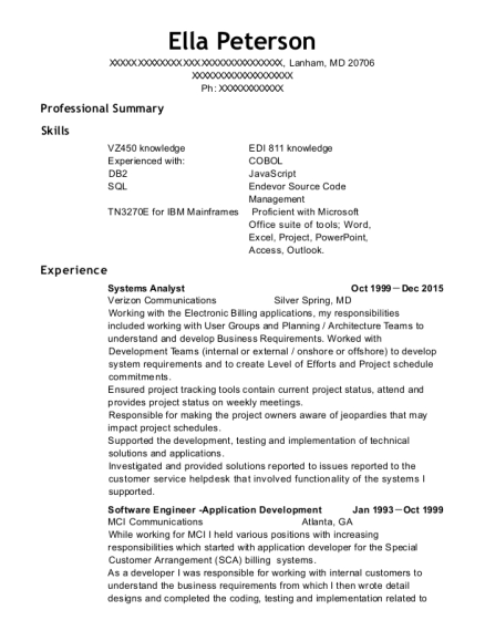 Systems Analyst resume template Maryland