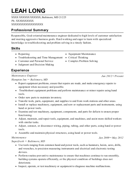 Maintenance Engineer resume format Maryland