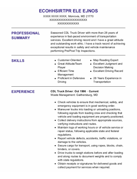 CDL Truck Driver resume format Maryland