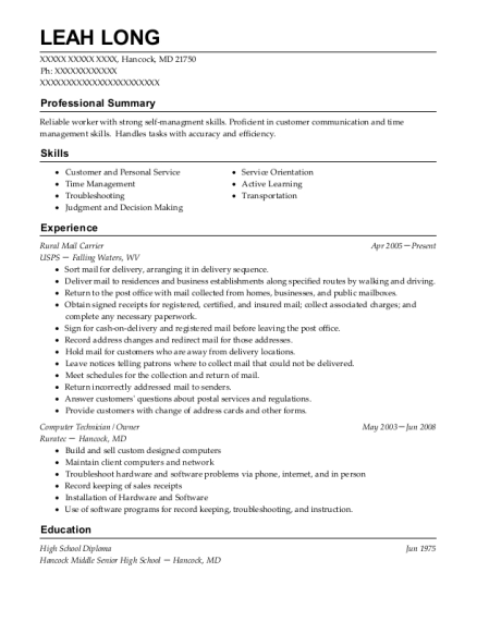 Rural Mail Carrier resume template Maryland