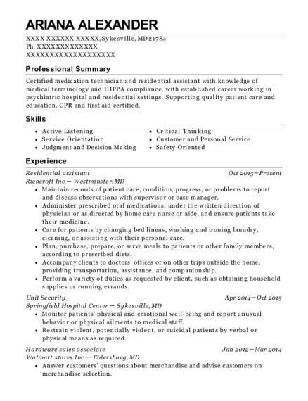 Residential assistant resume sample Maryland