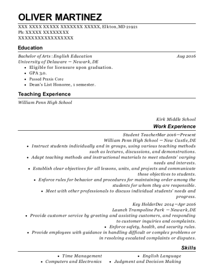 Student Teacher resume format Maryland