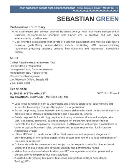 BUSINESS SYSTEM ANALYST resume template Maryland