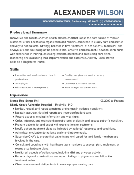 Nurse Med Surge Unit resume format Maryland
