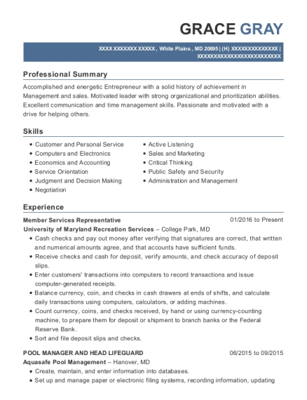 Member Services Representative resume example Maryland
