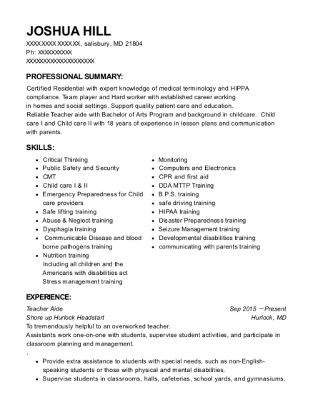 Teacher Aide resume template Maryland