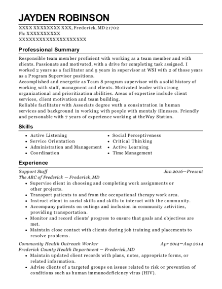 Support Staff resume template Maryland