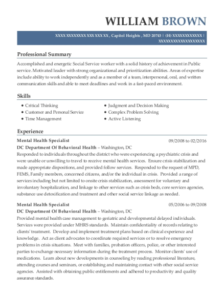 Mental Health Specialist resume example Maryland