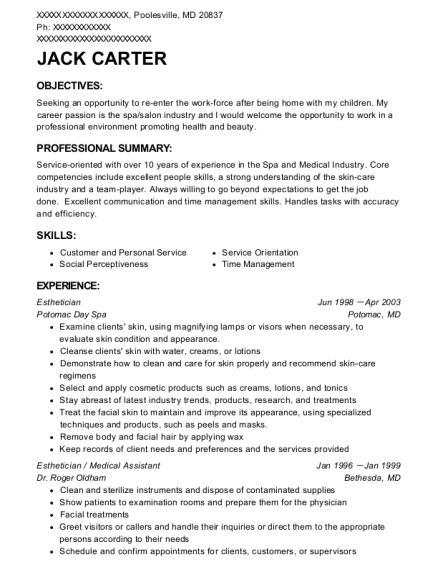 Esthetician resume example Maryland