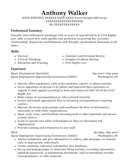 Equal Employment Specialist resume format Maryland