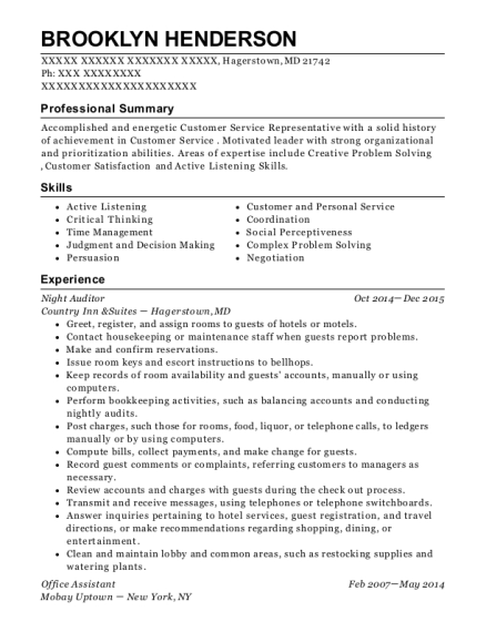 Night Auditor resume template Maryland