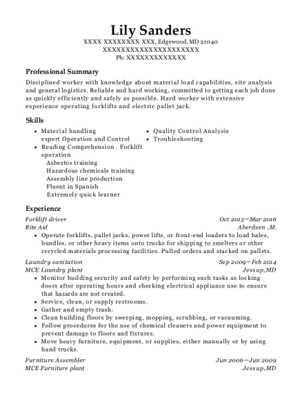 Forklift driver resume example Maryland