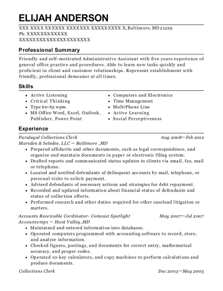 Paralegal Collections Clerk resume example Maryland