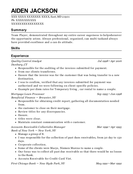 Quality Control Analyst resume example Maryland