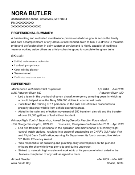 Maintenance Technician resume format Maryland