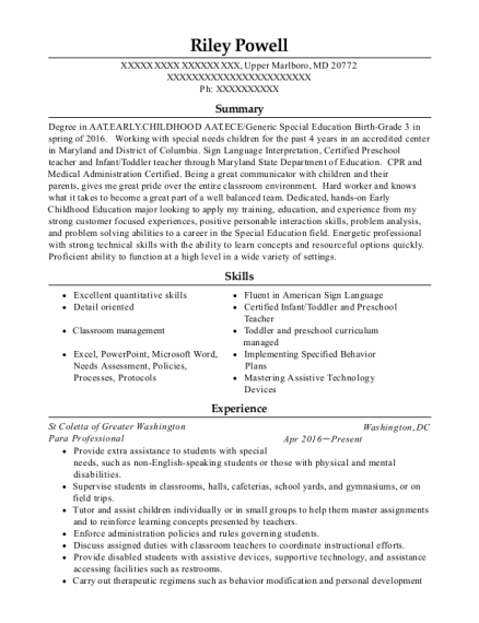 Para Professional resume format Maryland