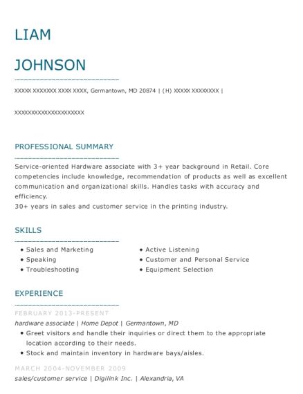 hardware associate resume template Maryland