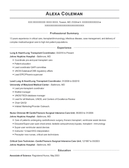 Lung & Heart resume sample Maryland