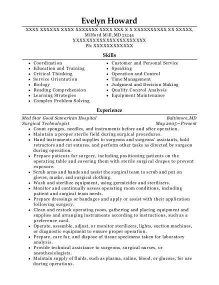 Surgical Technologist resume format Maryland
