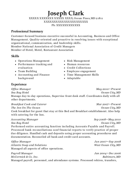 Office Manager resume sample Maryland
