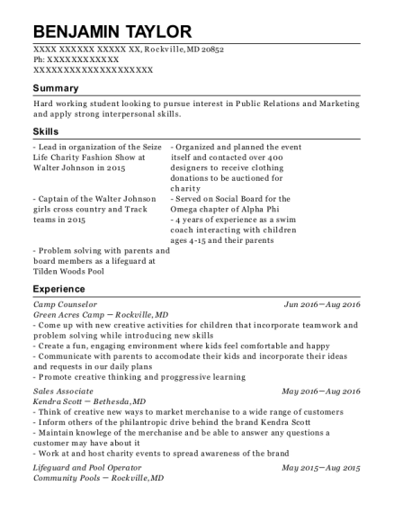 Camp Counselor resume sample Maryland