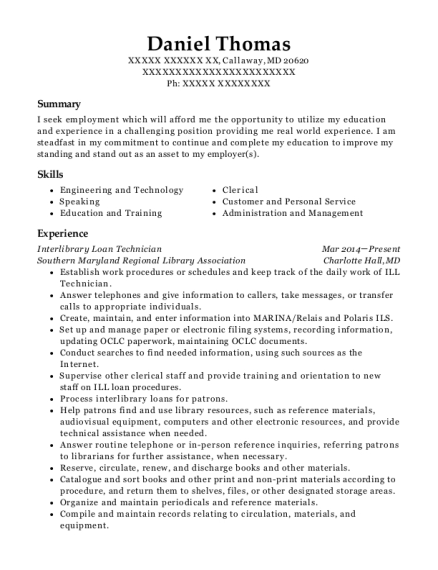 Interlibrary Loan Technician resume example Maryland