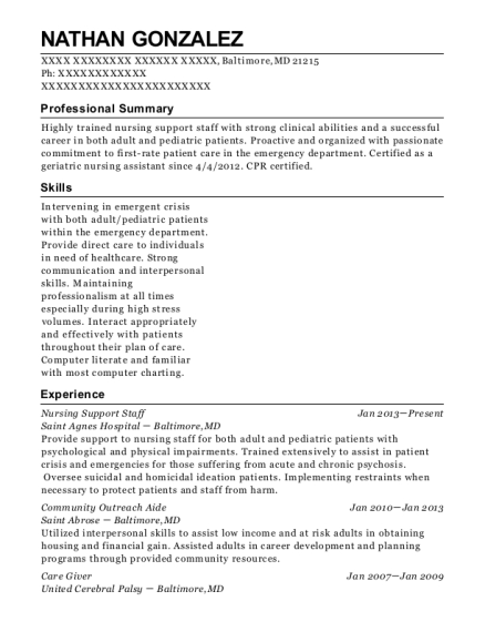 Nursing Support Staff resume template Maryland
