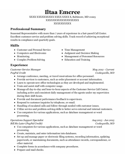 OPERATIONS SUPPORT SPECIALIST resume template Maryland