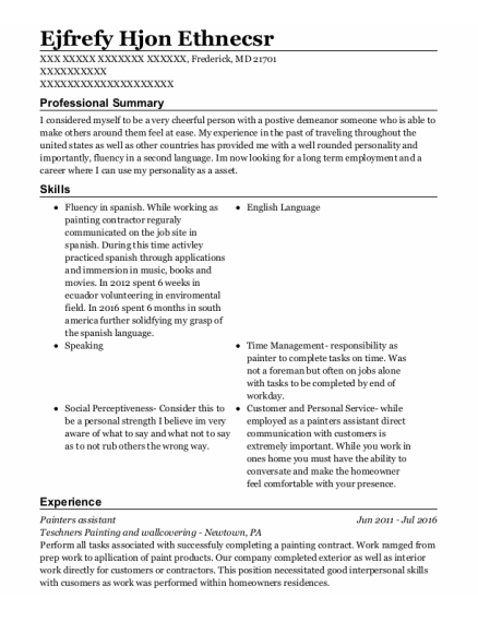 Painters Assistant resume example Maryland