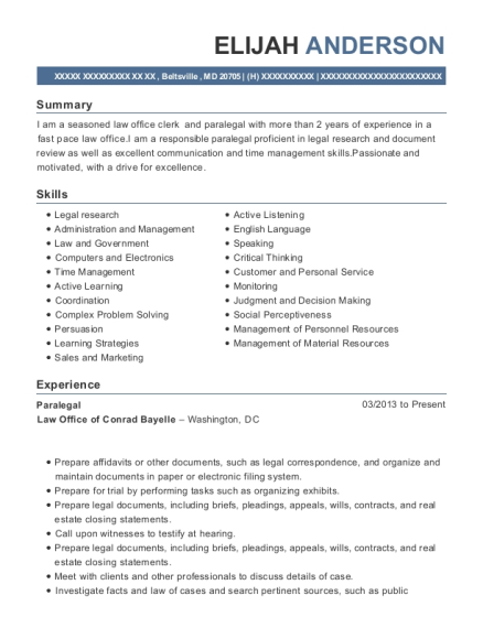 Paralegal resume example Maryland