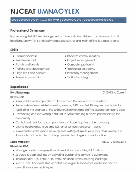Retail Manager resume template Maryland
