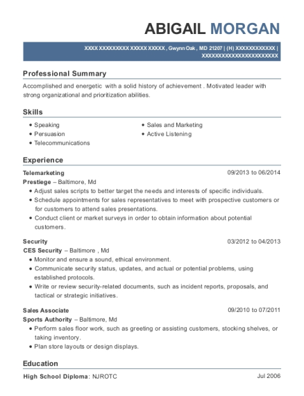 Telemarketing resume format Maryland