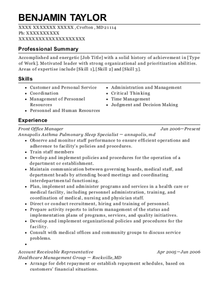 Front Office Manager resume format Maryland