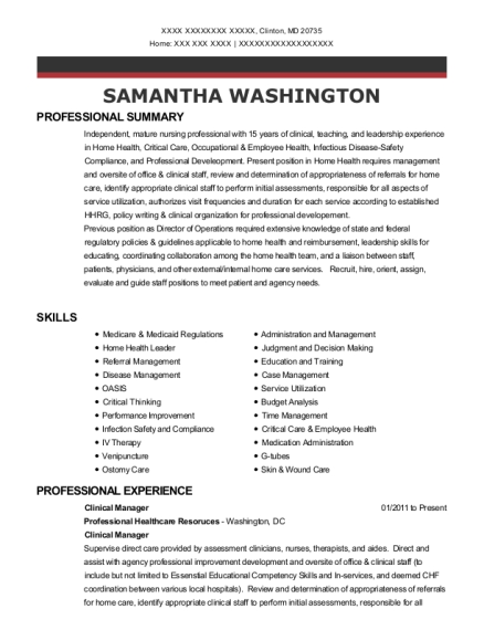 Clinical Manager resume format Maryland