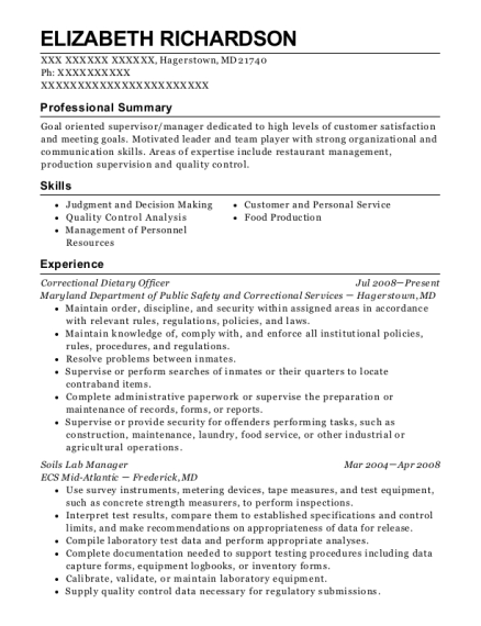 Correctional Dietary Officer resume template Maryland