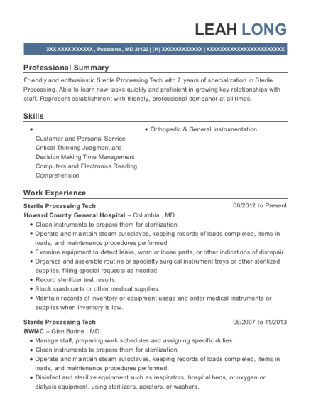 Sterile Processing Tech resume example Maryland