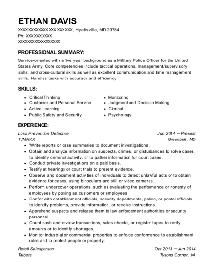 Loss Prevention Detective resume format Maryland