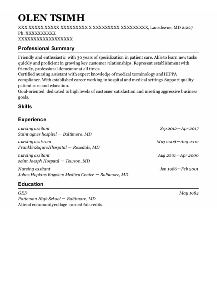 Nursing Assitant resume format Maryland